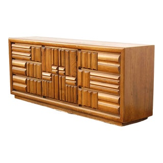 1970s Brutalist Mosaic Woodblock Dresser For Sale