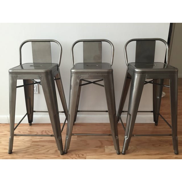 Tolix-Inspired Industry West Metal Counter Stools - Set of 3 - Image 2 of 7