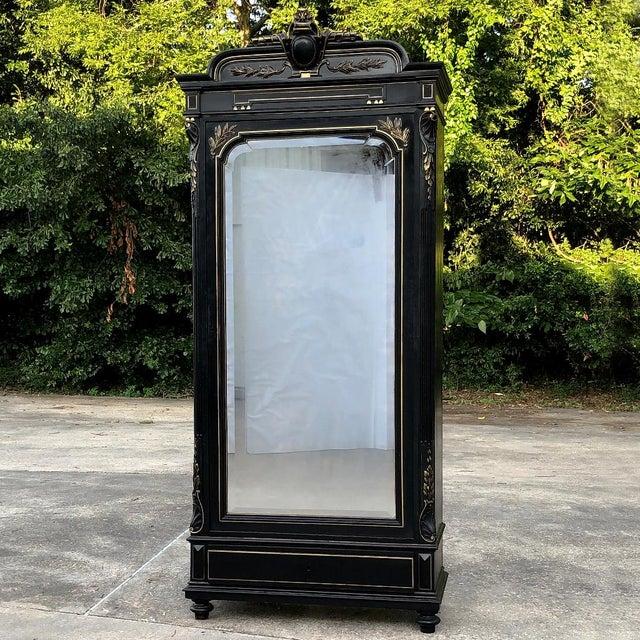 19th Century French Napoleon III Ebonized Armoire For Sale - Image 13 of 13