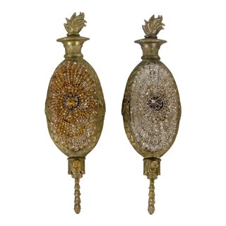 French Style Beaded Shade and Flame Finial Wall Sconces - a Pair For Sale