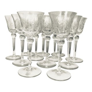 Hand Etched Cocktail Glasses - Set of 12