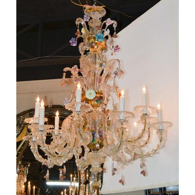 Antique Venetian Multi-Color Blown Glass Chandelier For Sale In Dallas - Image 6 of 11
