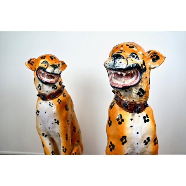 1960s Mid-Century Italian Ceramic Cheetah Statues - Pair For Sale - Image 5 of 8