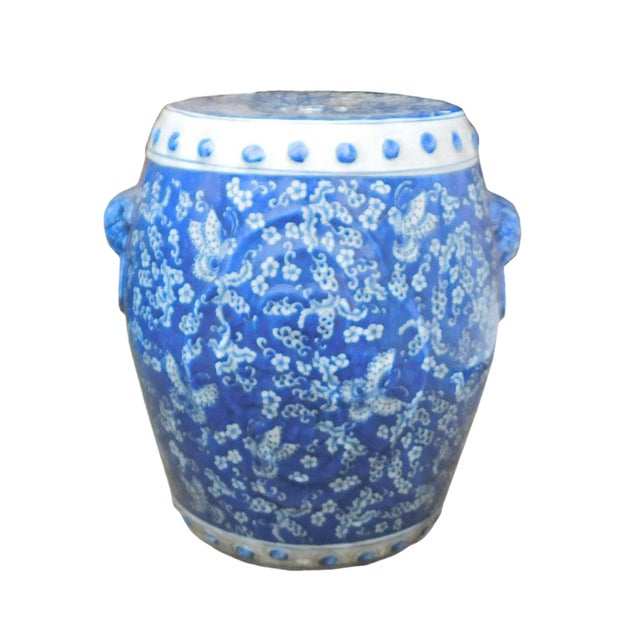 Chinese Blue White Porcelain Butterflies Stool - Image 1 of 4