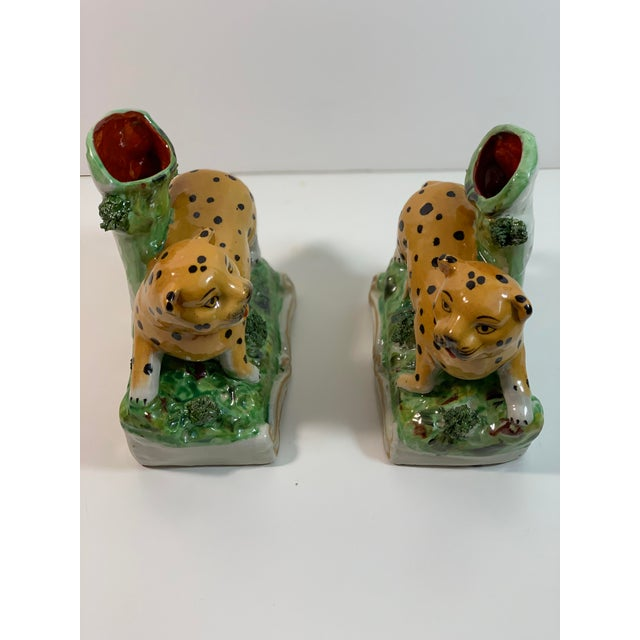 Boho Chic Vintage Staffordshire Style Leopard Spill Vases - a Pair For Sale - Image 3 of 11