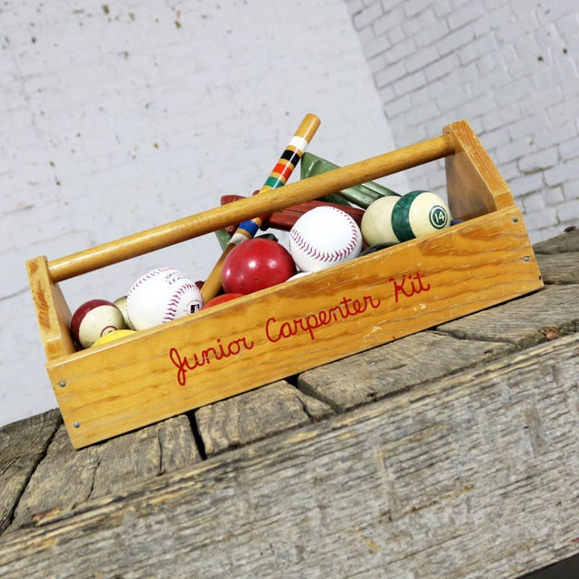 Brown Object D 'Art Centerpiece Junior Carpenter Kit Tool Box With Balls and Horseshoes For Sale - Image 8 of 13