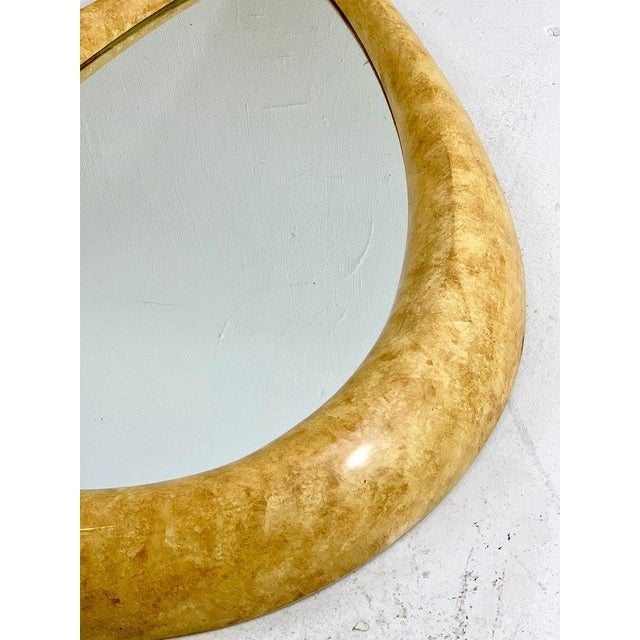 1970s Parchment Lacquered Raindrop Mirror For Sale - Image 10 of 11