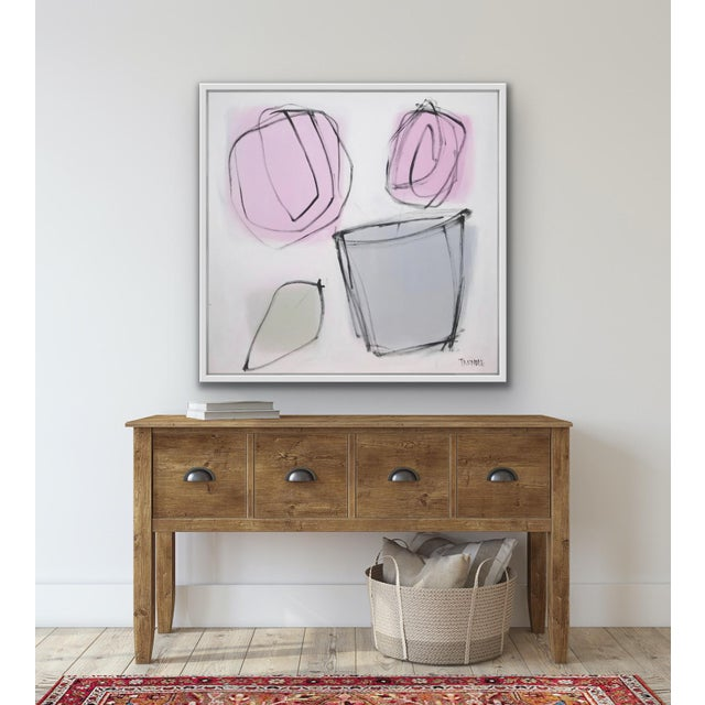 """White Sarah Trundle, """"Grey Pot"""", Contemporary Abstract Floral Painting For Sale - Image 8 of 9"""