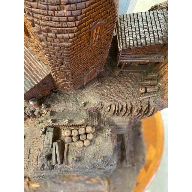 Wood Lighthouse + Village Wood Carved Sculpture For Sale - Image 7 of 13