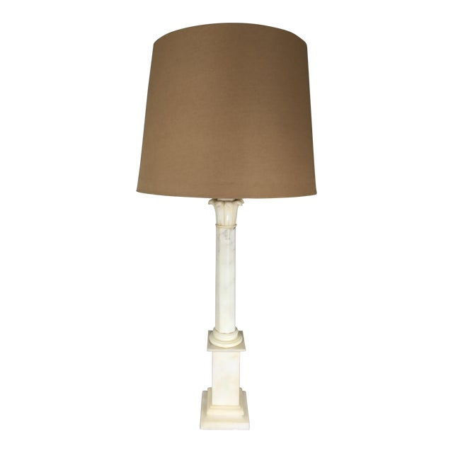 Hollywood Regency Alabaster Column Lamp For Sale