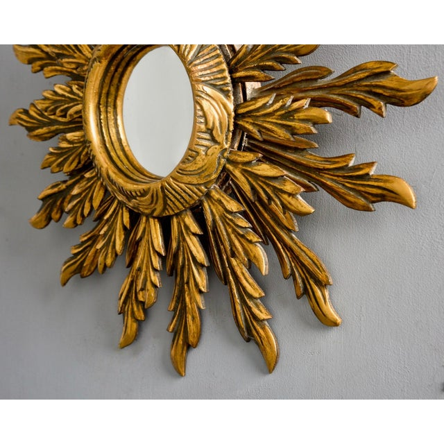 Mediterranean Double Layer Giltwood Sunburst Mirror For Sale - Image 3 of 11