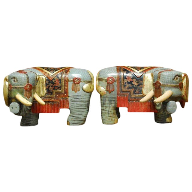 Chinese Carved Polychrome Elephant Stools - A Pair - Image 1 of 10