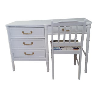 Vintage Henry Link Bali Hai White Faux Bamboo Desk and Chair - 2 Pieces For Sale