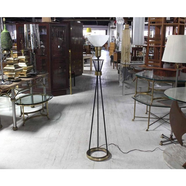 Early 20th Century Round Brass Base Iron Spokes Mid-Century Floor Lamp For Sale - Image 5 of 6