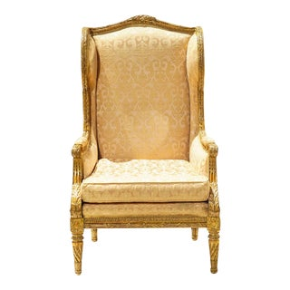19th C. French Giltwood Wingback Chair For Sale