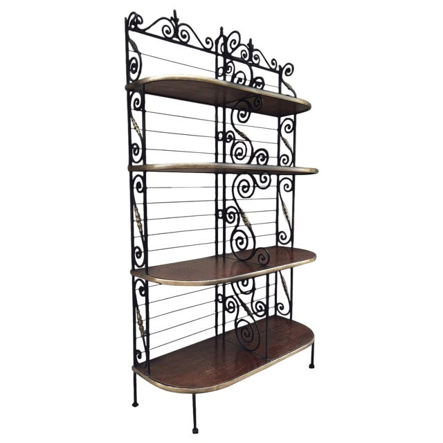 Large Antique French Iron and Brass Bakers Rack For Sale