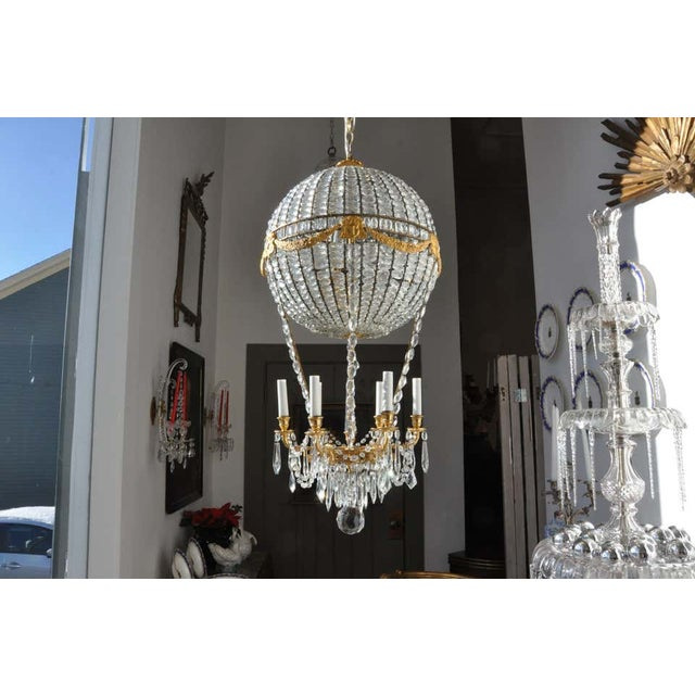 Montgolfier Ormolu and Crystal Hot Air Balloon Chandelier For Sale - Image 4 of 9
