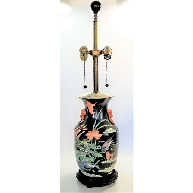 Vintage Chinese Porcelain Famille Noire Lamp For Sale - Image 12 of 12