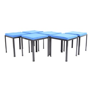 Danny Ho Fong for Tropi-Cal Steel Cut Trio Blue Wool Upholstered Stools - Set of 6 For Sale