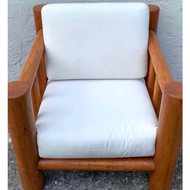 Substantial Mid-Century dowel lounge chair and ottoman, in carved beechwood, with canvas upholstery, ready for...