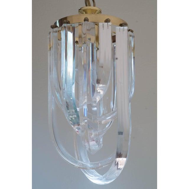 Vintage Glam Regency Lucite Ribbon Chandelier Light - Image 2 of 6
