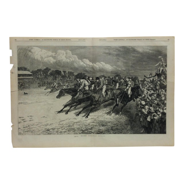 """1870s Antique """"The Derby"""" Basil Bradley Illustrated Journal of Choice Reading Print For Sale"""