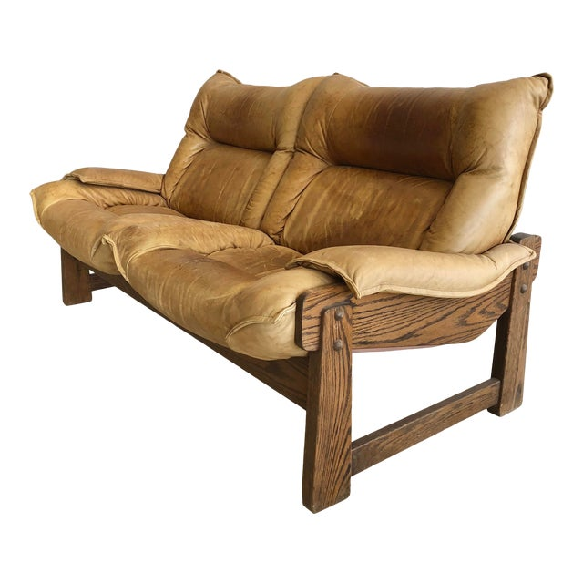 1970's Swedish Leather Loveseat For Sale