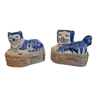 Blue and White Dog and Cat Ring Boxes - a Pair For Sale