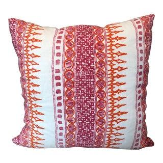 Early 21st Century Vintage John Robshaw Pink & Orange Algiers Pillow For Sale