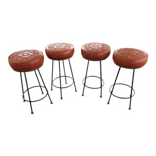 1970s Americana Embossed Red Vinyl Swivel Bar Stools - Set of 4