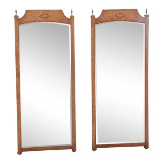 Mid-Century Modern Hollywood Regency Burl Wood and Brass Wall Mirrors, Pair For Sale