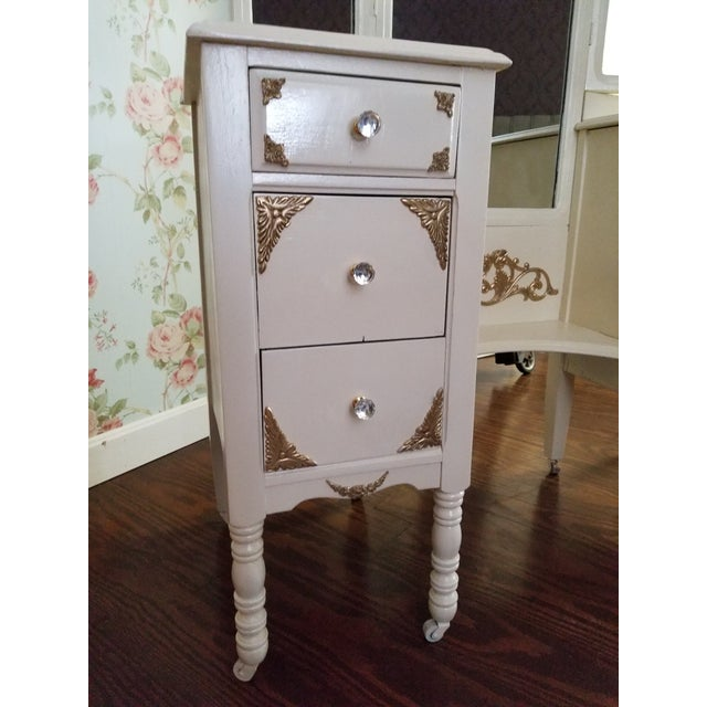 Victorian Ivory VanityMakeup Dresser With Gold Leaf Accents With Mirror For Sale - Image 5 of 8
