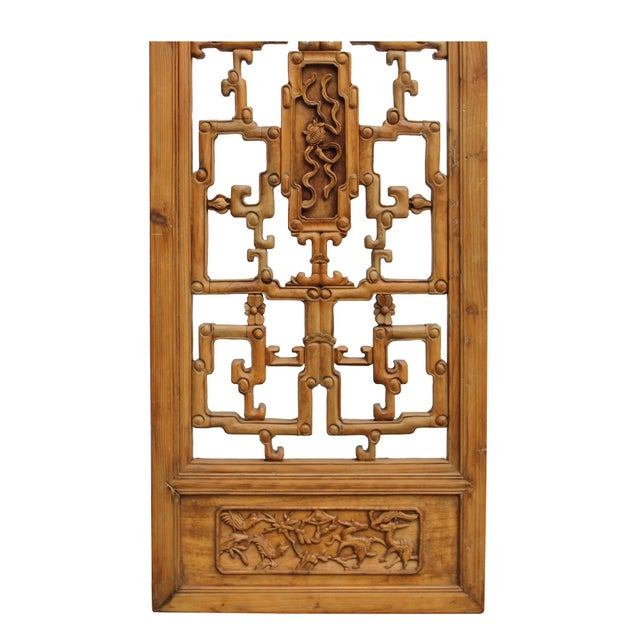 1960s Chinese Vintage Light Brown Relief Motif Wood Wall Hanging Art For Sale - Image 5 of 11