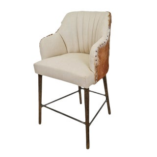 Austin Goat & Linen Counter Stool For Sale