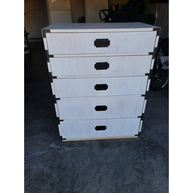 Beautifully, white-washed 1950's - 1960's beautiful campaign chest. Original factory paper still attached to back. Have...