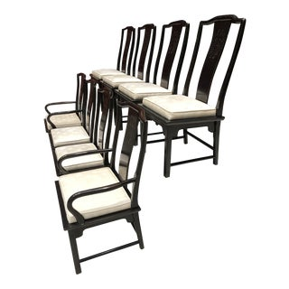 Set of 8 Mid-Century Modern Chinoiserie Dining Chairs Raymond Sobota for Century Furniture For Sale