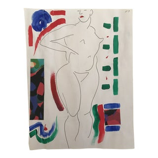 1990s Standing Female Nude Collage and Painting For Sale