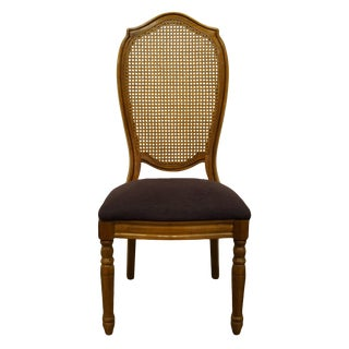 Late 20th Century Thomasville Furniture Villager Collection Cane Back Dining Side Chair For Sale