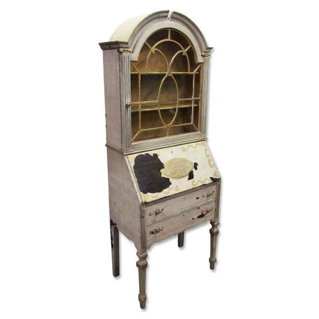 Antique Secretary Desk & Cabinet Duo For Sale - Image 4 of 10
