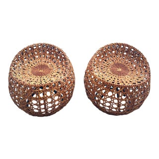 Palecek Manhattan Rattan Swivel Stools - a Pair