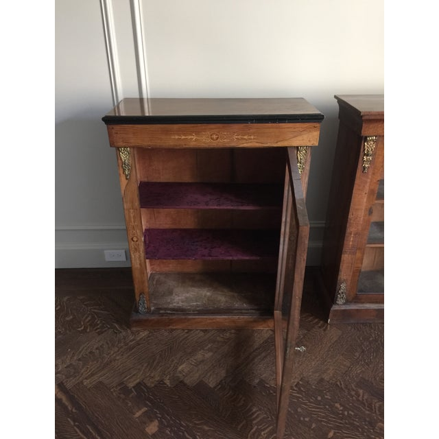 Late 19th Century Victorian Inlaid Walnut Low Bookcases - a Pair For Sale - Image 5 of 11