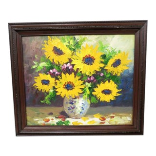 Vintage Sunflower Oil Painting For Sale
