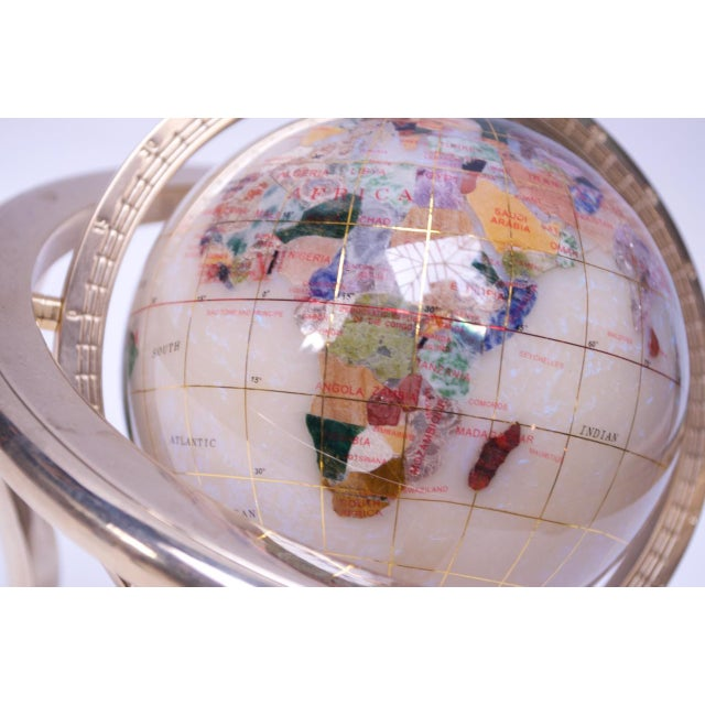 Contemporary Petite Desk Globe in Brass, Gemstones, and Mother of Pearl For Sale - Image 10 of 13