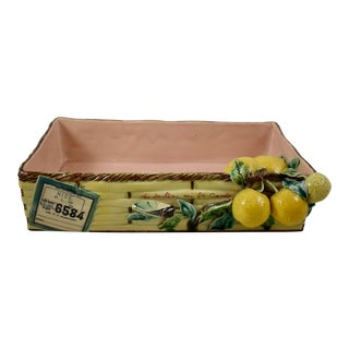 Menton French Provençal Lemon & Cicada Shipping Crate Faïence Tray For Sale
