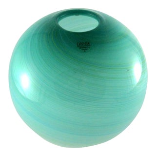 1980s Dansk International Hand Blown Green & White Filigrana Glass Orb Vase For Sale