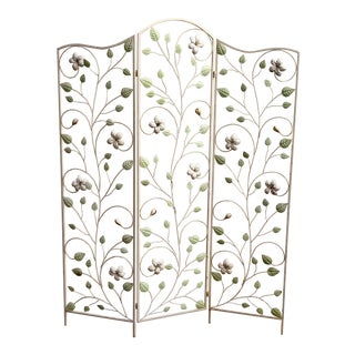 Vintage Floral Design Iron Metal 3 Folding Screen For Sale