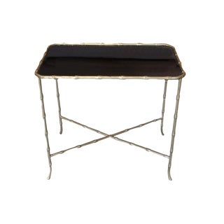 1930s French Maison Bagues Bronze Bamboo and Black Glass Side Table For Sale
