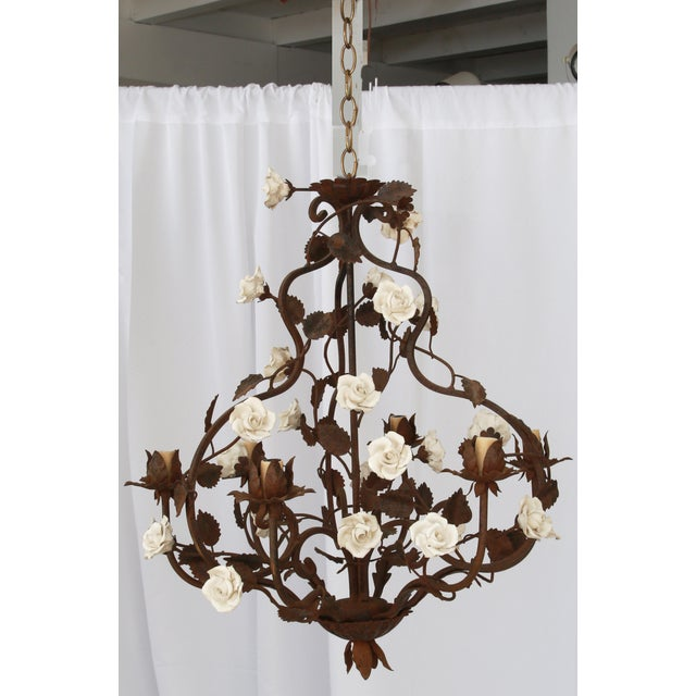 1950s Rustic Italian Metal & White Flowers Chandelier For Sale - Image 5 of 5