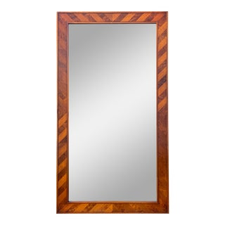 Mid Century Mahogany & Burl Rectangular Mirror For Sale