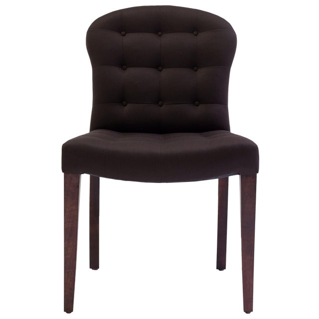 Bisquit Tufted Dining Side Chair With Wood Legs and Balloon Shaped Back For Sale